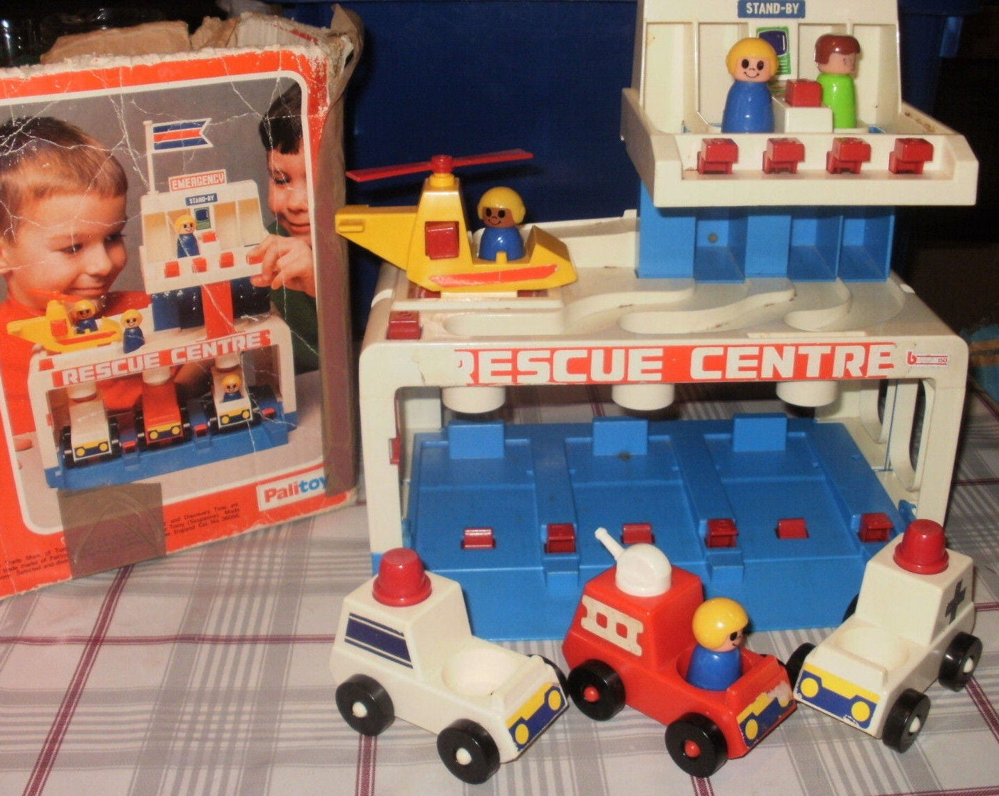 Vintage 70s Tomy Toy Rescue Centre in Original Box People Helicopter Ambulance Fire Engine Ambulance Police Vehicles Cars Toys birthday gift
