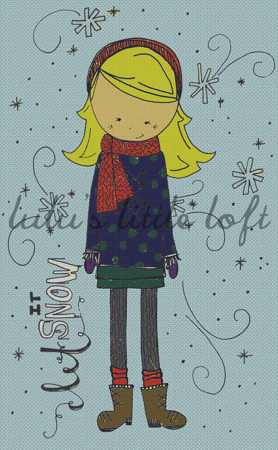 girl drawing let it snow