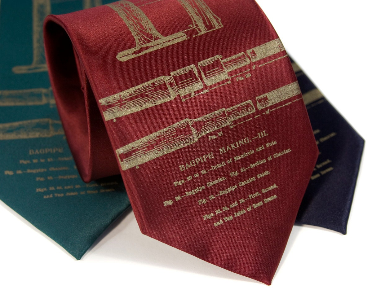 """Bagpipes necktie. """"11 Pipers Piping."""" Antique brass print. Your choice of microfiber tie colors. Extra long, standard or narrow width."""