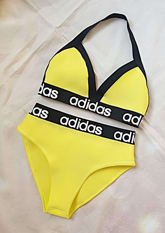Reworked yellow adidas bikini set