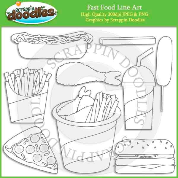 Line Art Etsy : Fast food line art by scrappindoodles on etsy