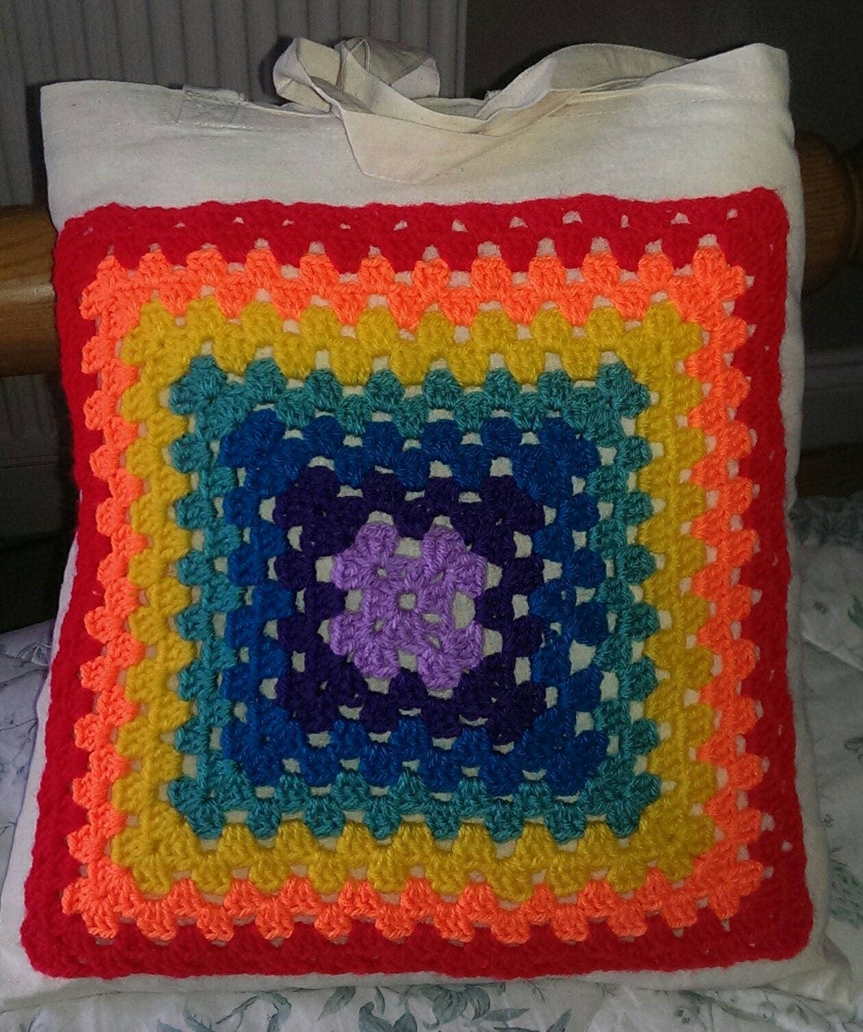 Rainbow granny square eco shopping bag tote
