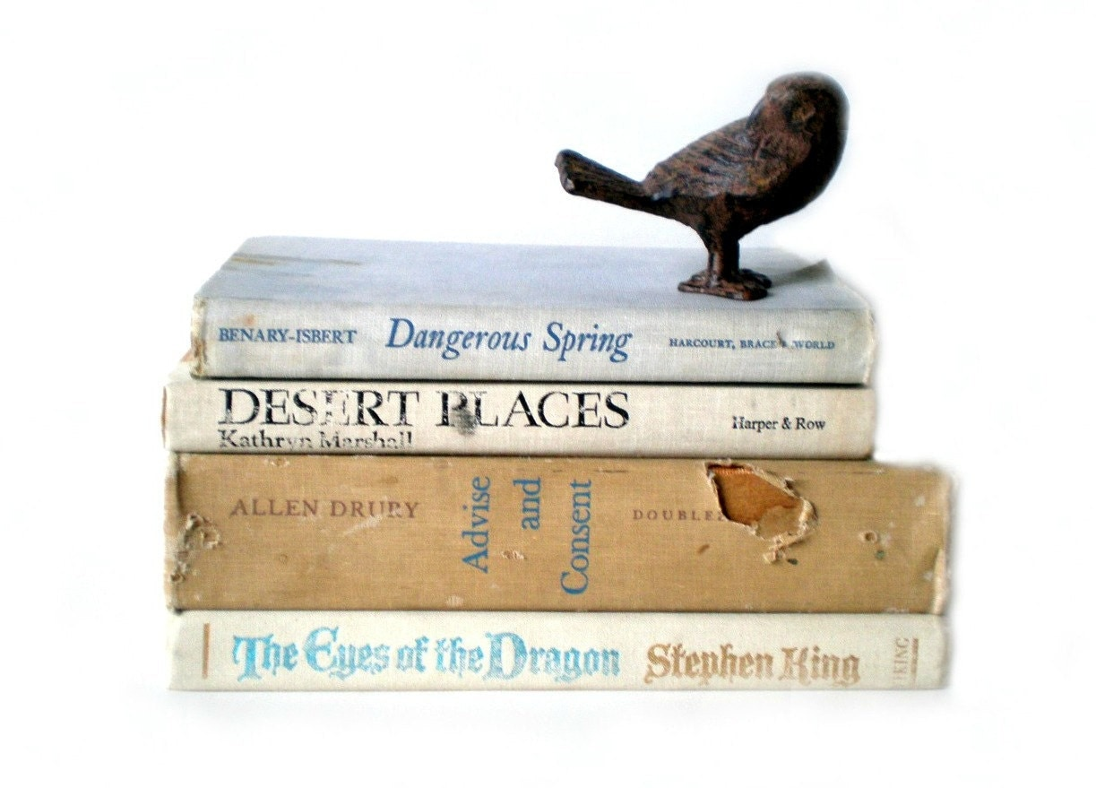 Beige Book Collection, Instant Library, Vintage Books, Rustic Decor