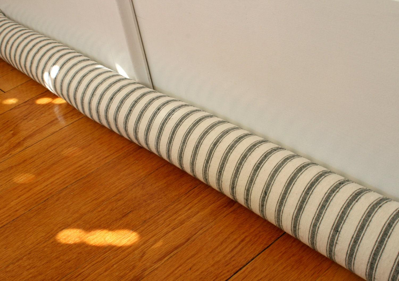 Door draft stopper draft snake blue cream ticking 05 by for Door wind stopper