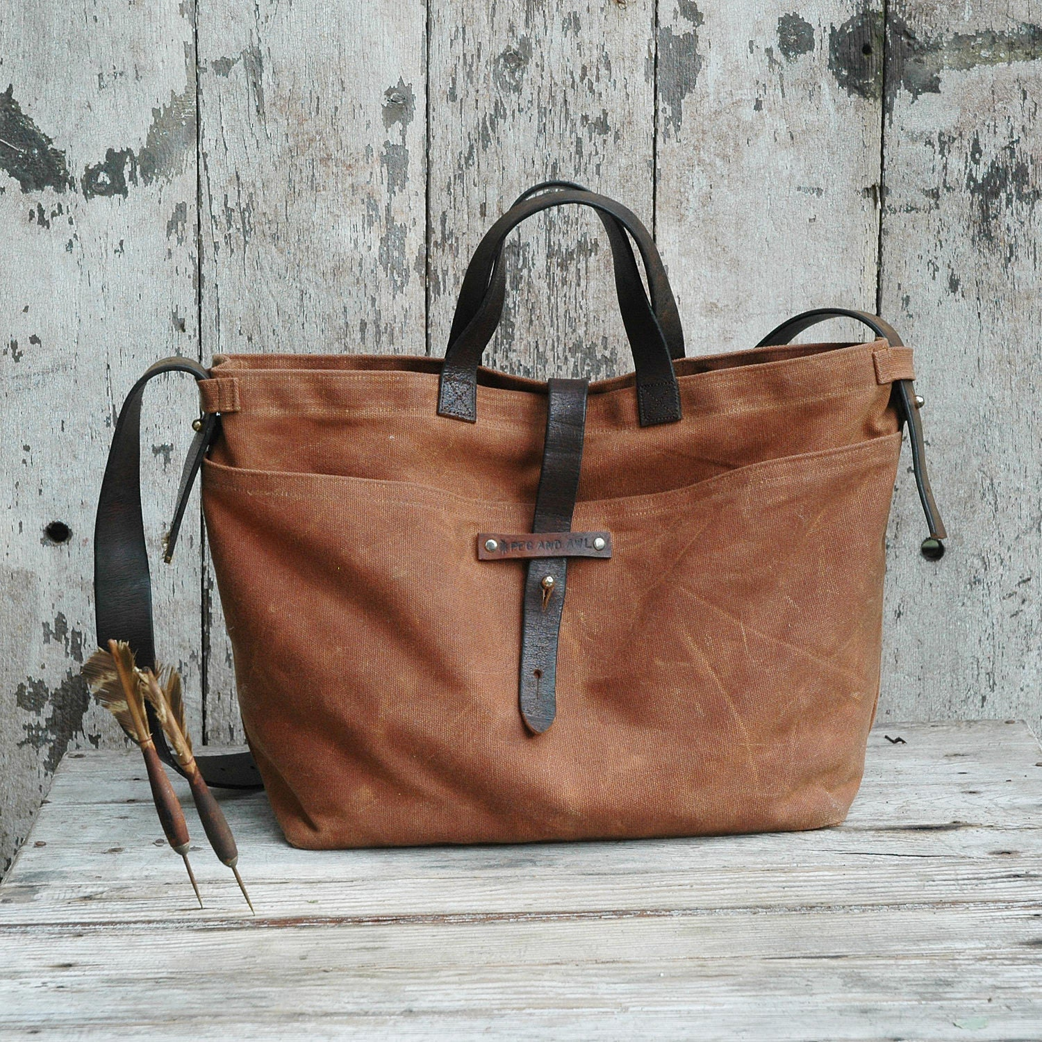 Waxed Canvas Tote: Spice, antique military leather, antique fabric pocket. - PegandAwl