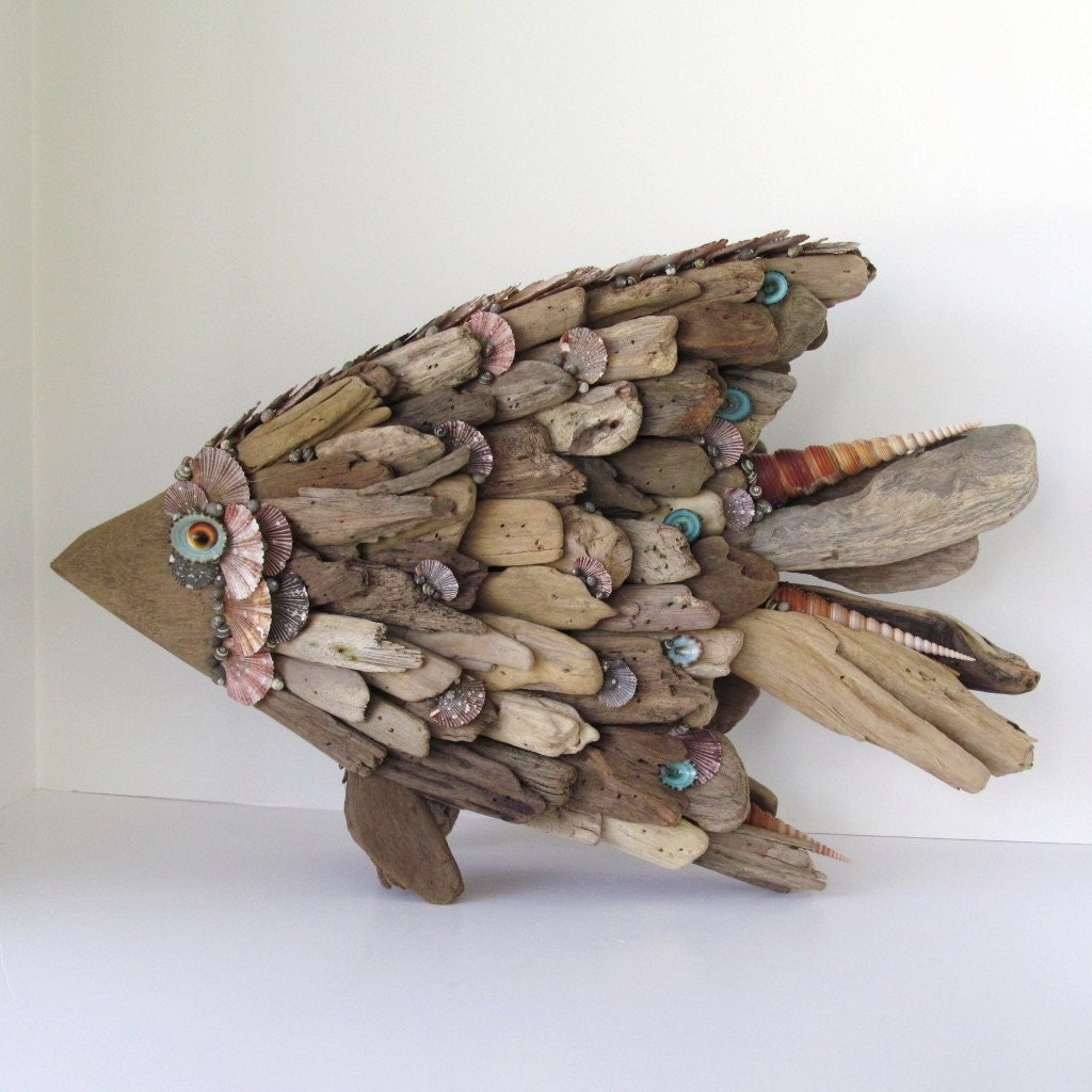 Driftwood sculpture fish angelfish shells by sandisshellscapes
