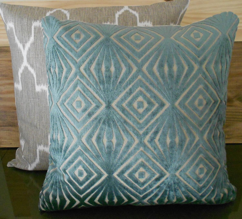 Decorative pillow cover teal blue cut velvet by pillowflightpdx
