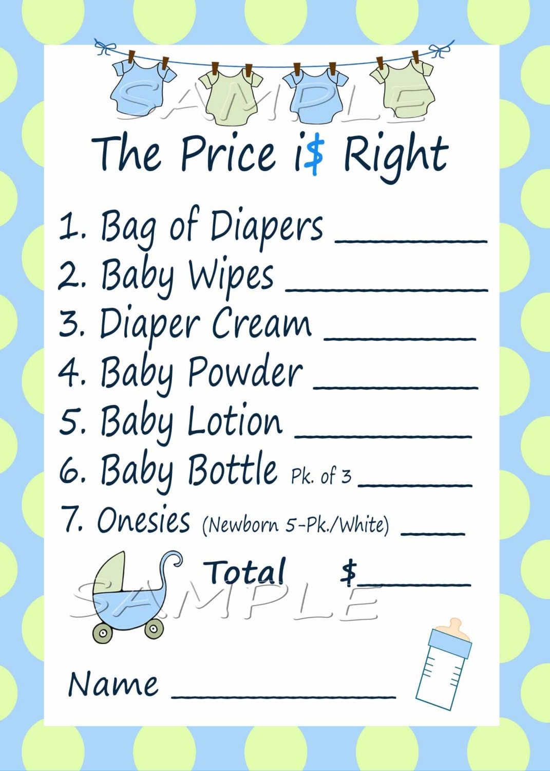 price is right baby shower game blue green clothes line set of 2