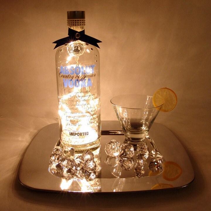 Absolut Vodka Light Up Liquor Bottle - Lighted Decorated Bottle / Lamp ... Unique Fish Tank Decorations