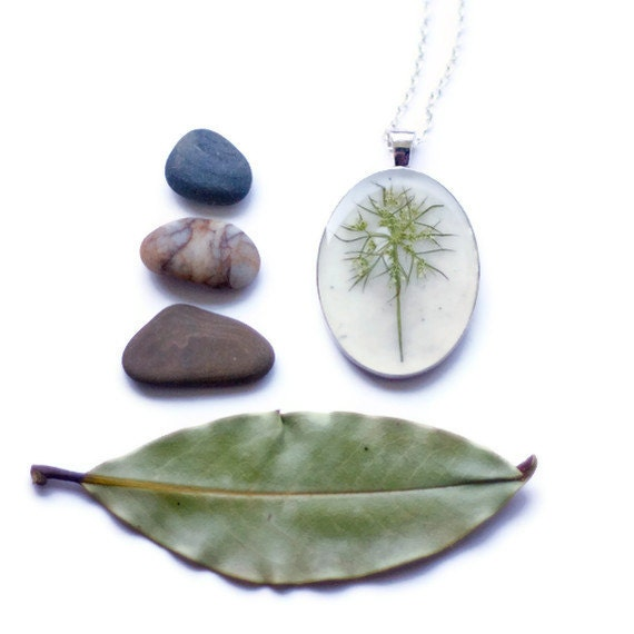 pressed flower necklace snowflake real resin queen annes lace botanical pendent fashion handmade jewelry silver - StudioBotanica