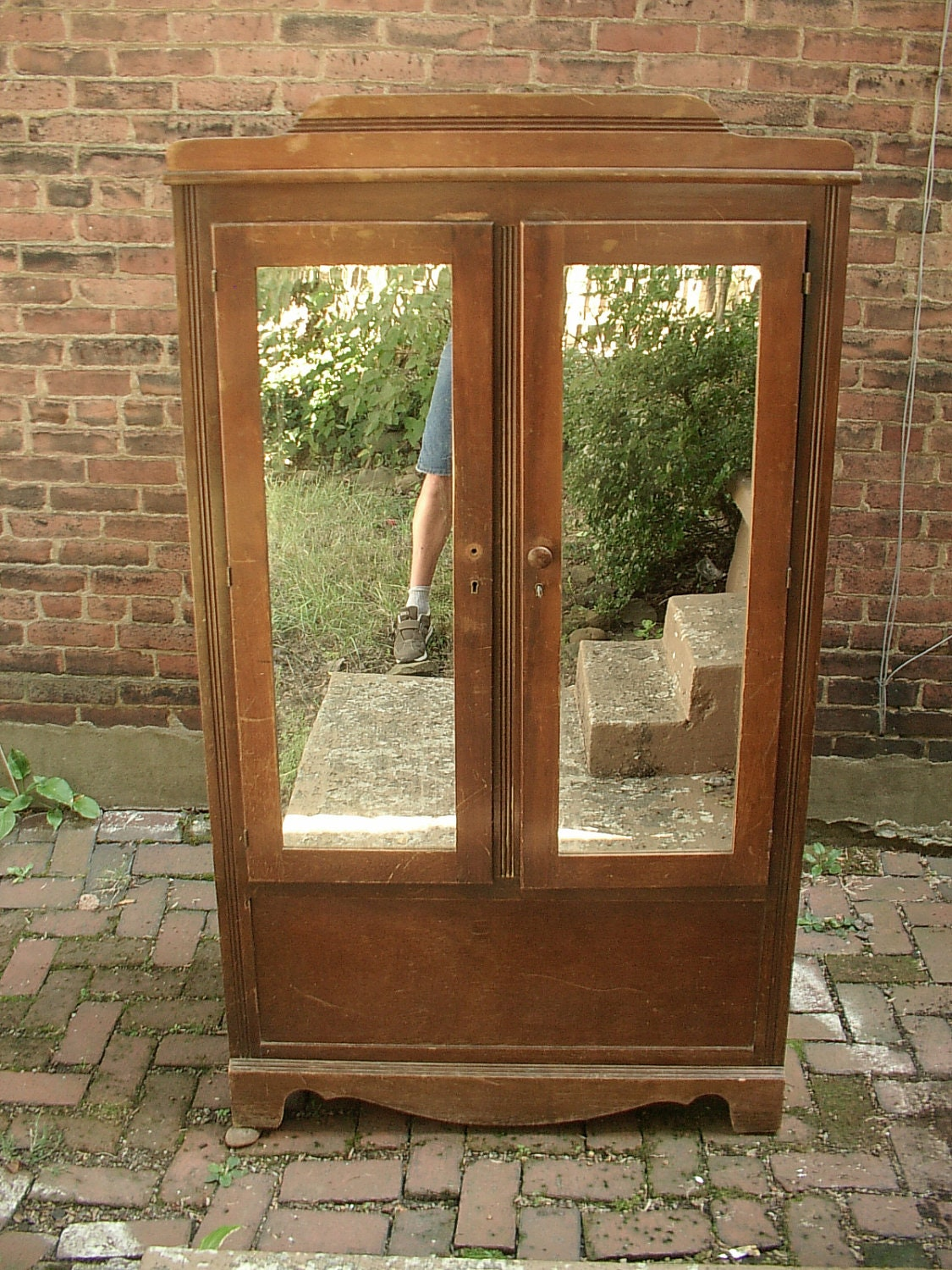 Vintage Armoire Wardrobe Cabinet Mirrored Doors By ShoponSherman. Full resolution  img, nominally Width 1125 Height 1500 pixels, img with #6B4325.