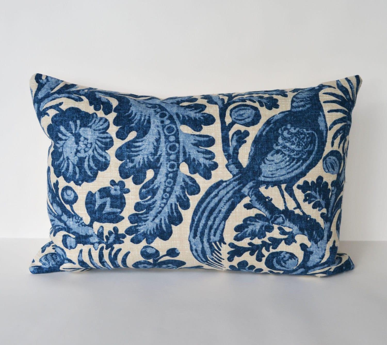 Items similar to Decorative Pillow 12x18 lumbar pillow Indigo blue floral bird design Accent ...