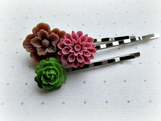 Fall colors Deep Mauve Brown and Green bobby pin set of three