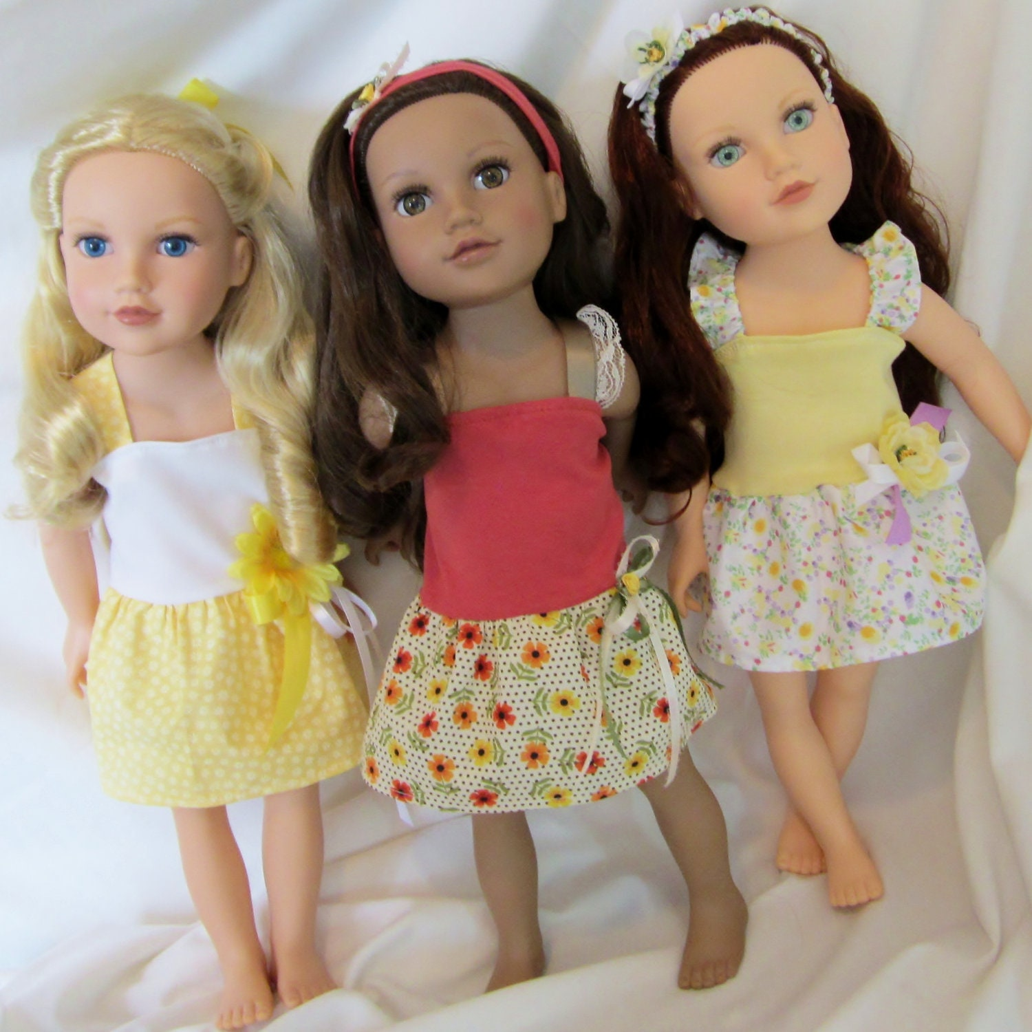 3 dress set 6 pc doll clothes 18 inch by hautedesignsbynorine
