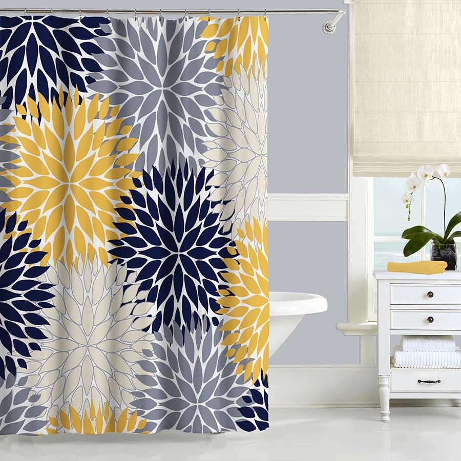 Blue and yellow curtain fabric