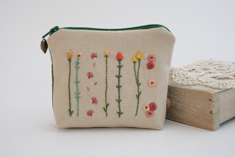 Zipper Coin Purse - Unique Floral Hand Embroidery Design - MADE TO ORDER - with Wild Flowers - TheBlueRabbitHouse