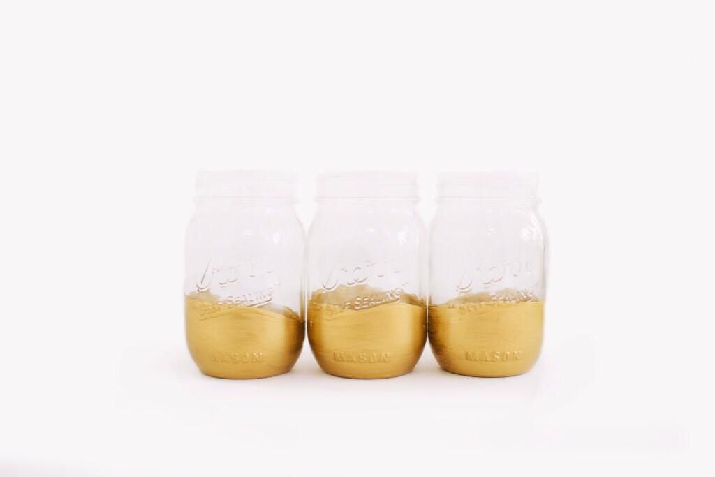 Gold Dipped Mason Jars (Set of 10) - TastefulTatters