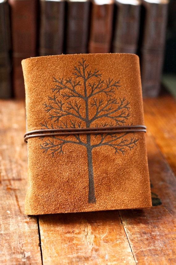 Leather Journal - The Autumn Tree - Rustic Travel Journal - wayfaringart