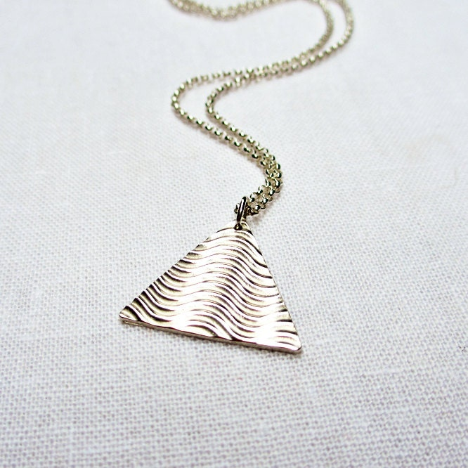 Silver Wave Triangle Necklace - Sterling Silver, Fine Silver, Wavy Print, Pyramid, Geometric, PMC,  Artisan Jewelry - BeadinByTheSea
