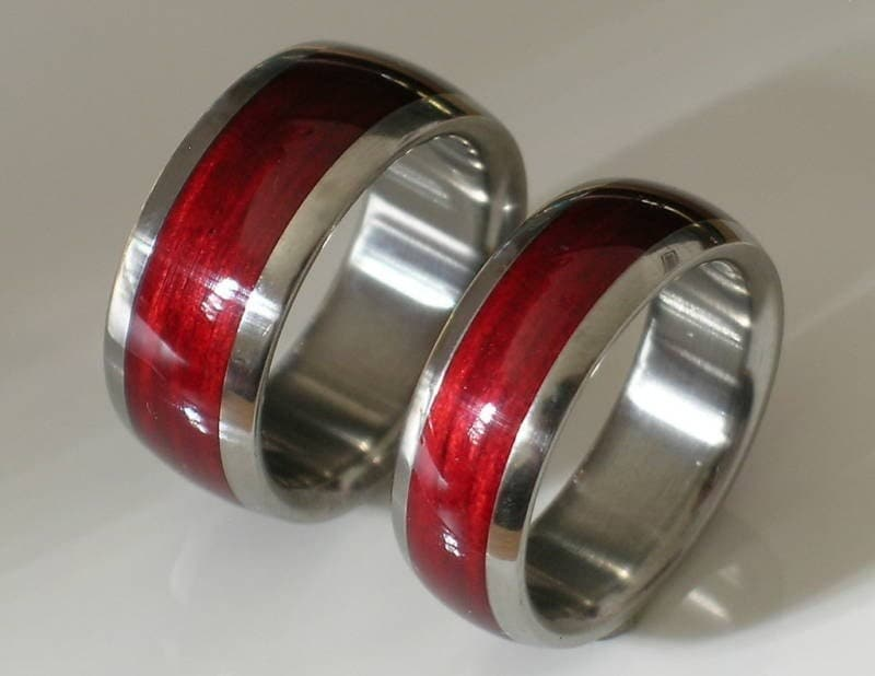 His Hers Custom Made in Pure Tungsten Dome Wood Rings Two Unique Wedding