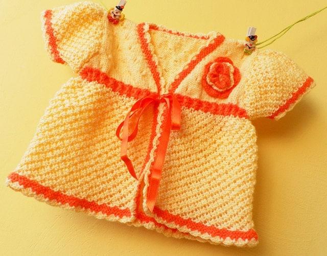 فروش تابستانی -- تنها در حال حاضر به ارزش 20 دلار -- دست آرام تابستان جلیقه نوزاد زرد و نارنجی بافتنی
