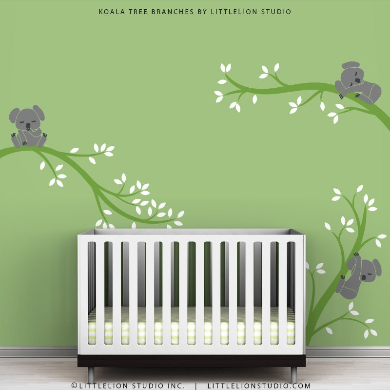Kids wall decals baby room decor green wall by thekoalastore - Wall decor for green walls ...
