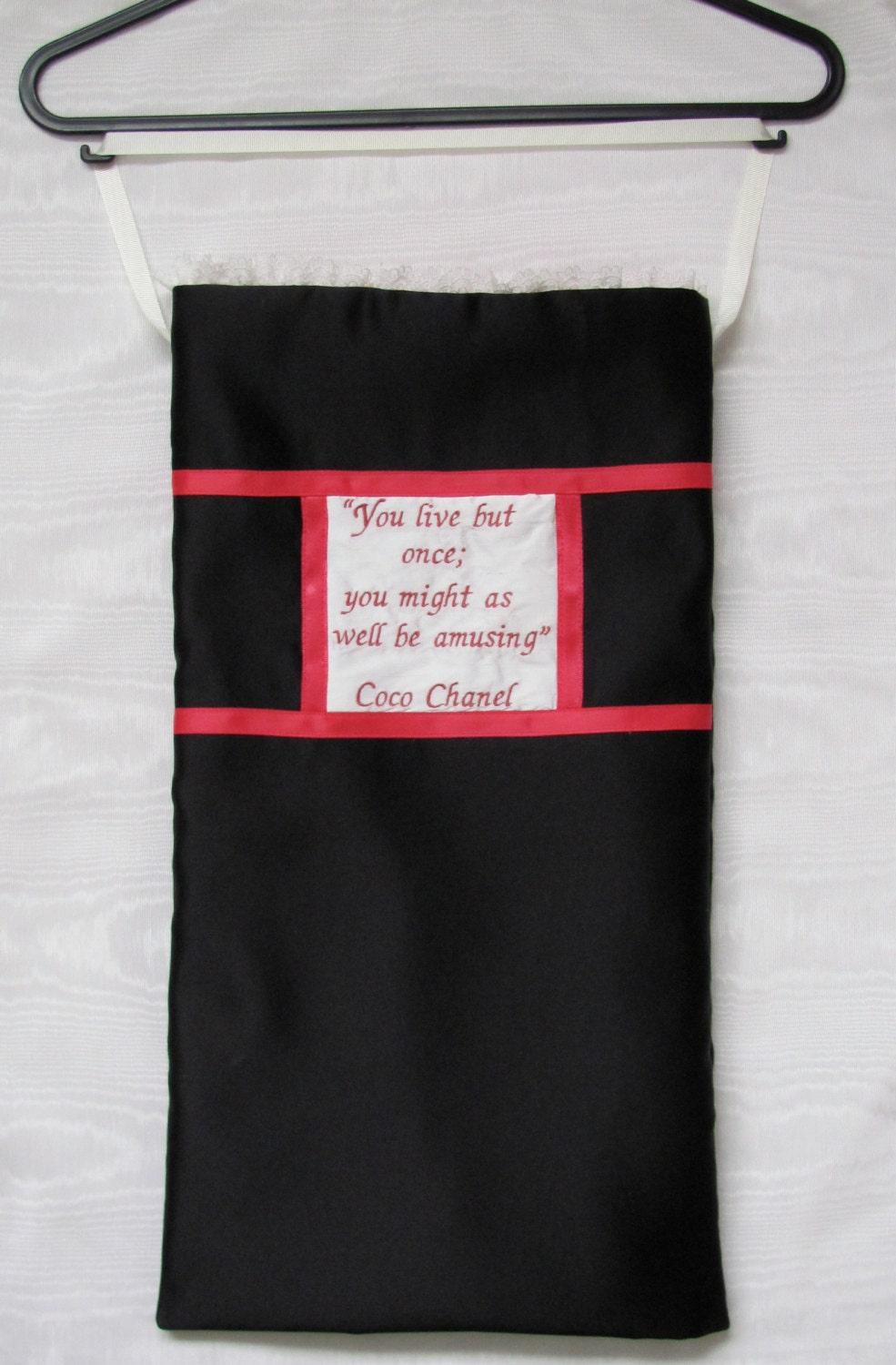Nightdress Lingerie Case in black Duchess Satin with Chanel Quote Lace and ribbon  Coco