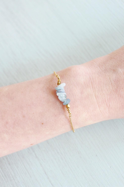 Blue aquamarine chip bead bracelet  Chip beaded bar aquamarine bracelet  Aquamarine bead bar gemstone bracelet  March birthstone bracelet