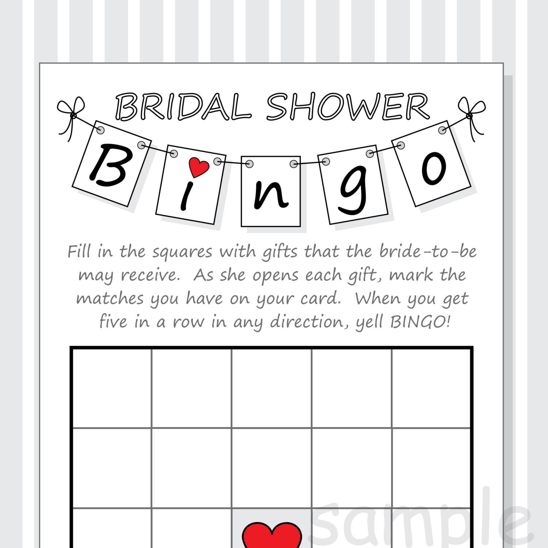 Free Printable Bridal Bingo Cards   Printable Cards
