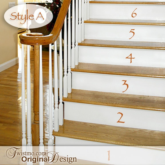 vinyl wall decals numbers 0 to 15 for stairs or by twistmo. Black Bedroom Furniture Sets. Home Design Ideas