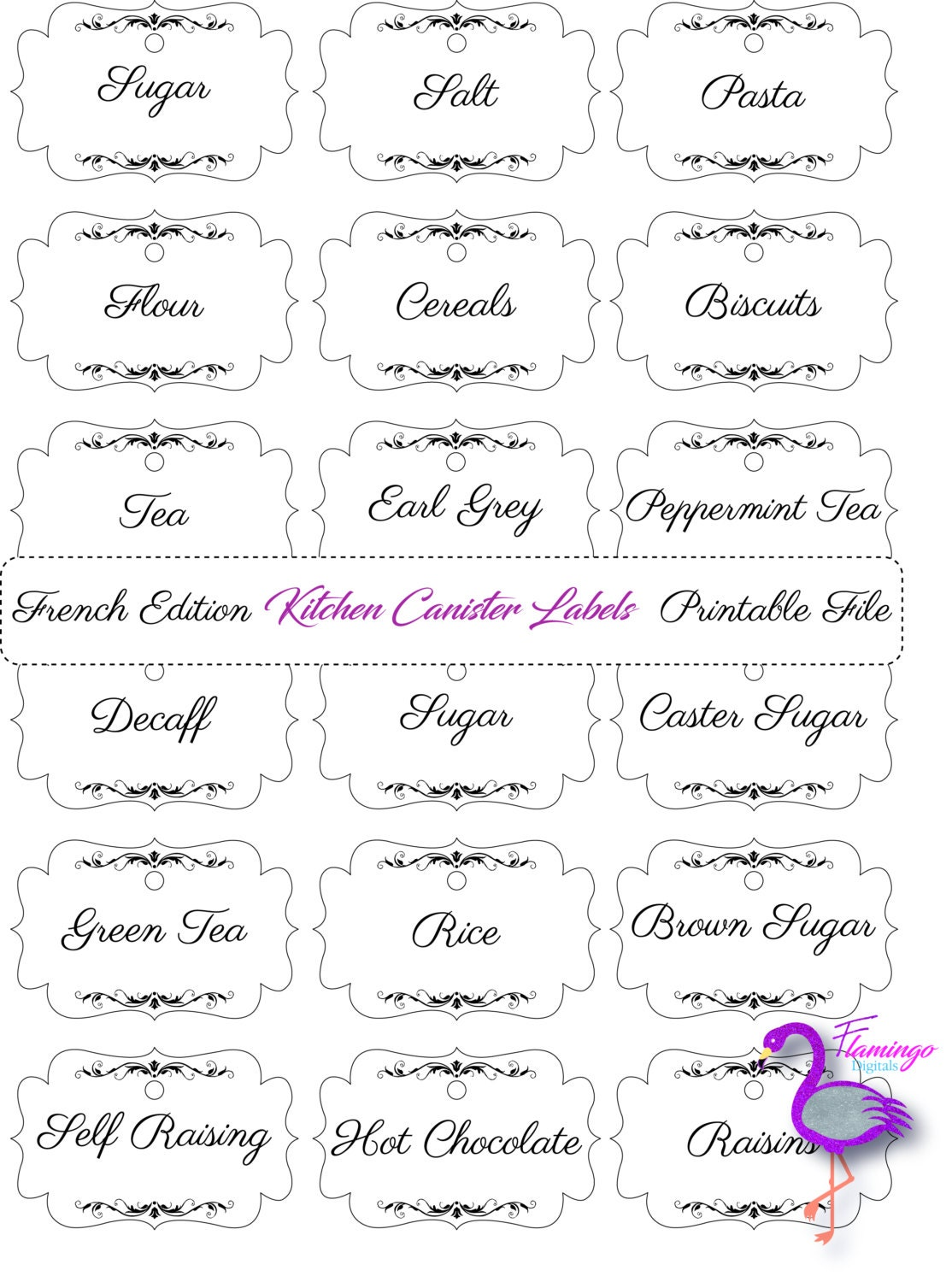 French Kitchen Labels French Style Printable Kitchen Canister kitchen storage kitchenware storage labels jars home storage
