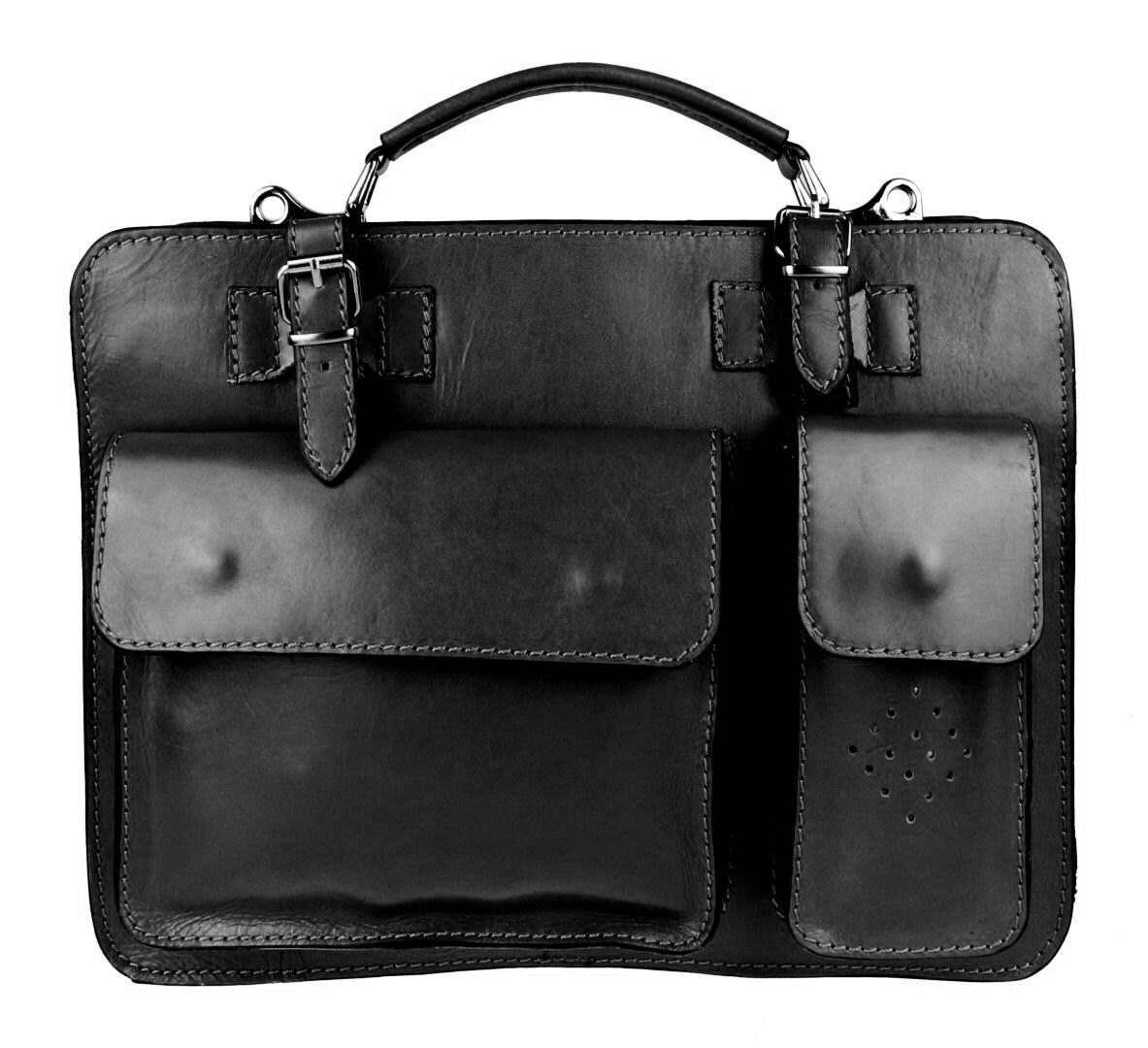 Medium Tan Black Hard Genuine Calf Leather Satchel Shoulder Briefcase Italian Made in Italy Office Bag