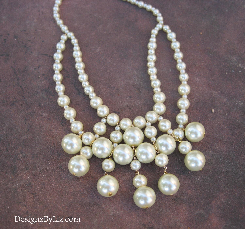 Bib of Pearls, chunky bib statement necklace