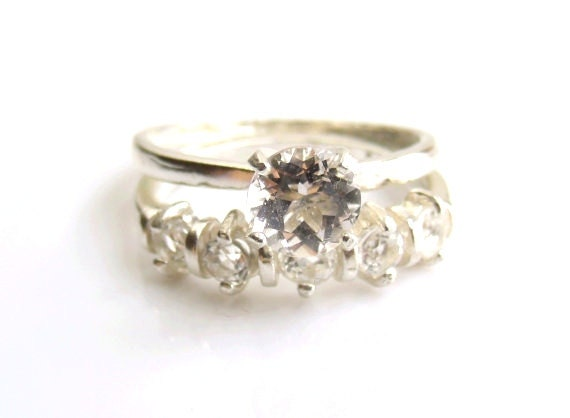 wedding ring set white topaz sterling silver made by