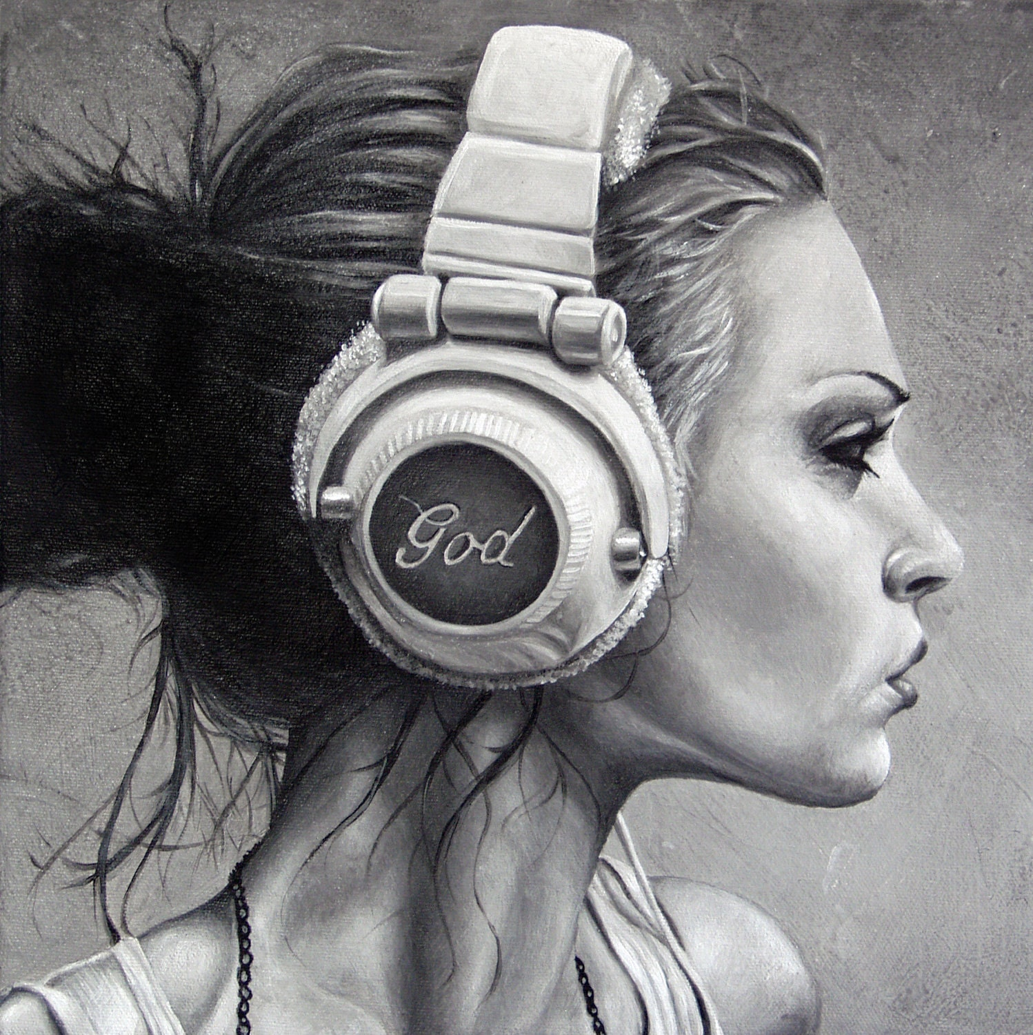 portrait painting of young woman listening to god on headphones laminated print - BrentSchreiber