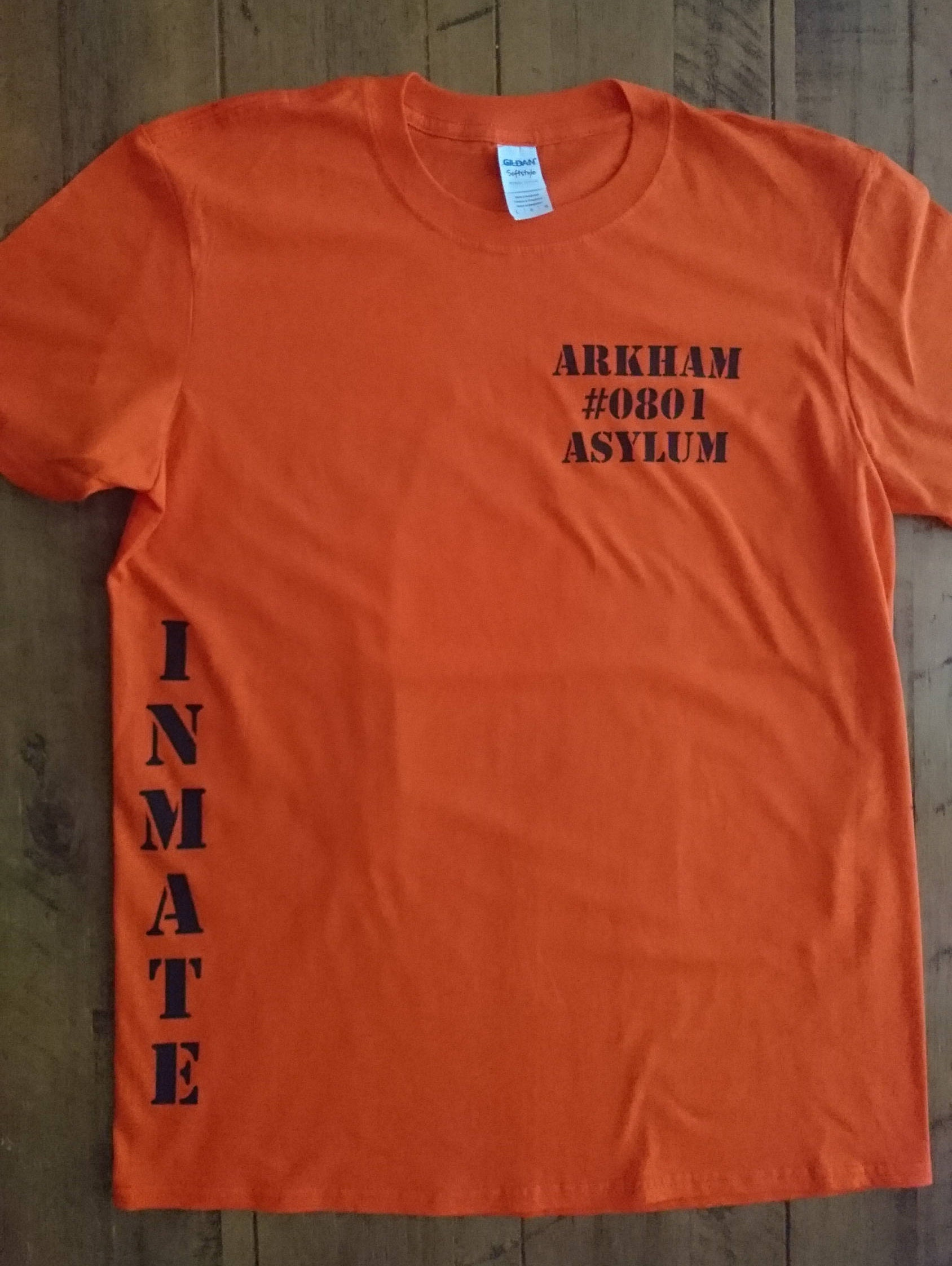 Orange Arkham Asylum Prison Inmate Tshirt Batman The Joker Tshirt Custom Tshirt Geek Tshirt Geek Gift Fancy Dress Cosplay Tshirt