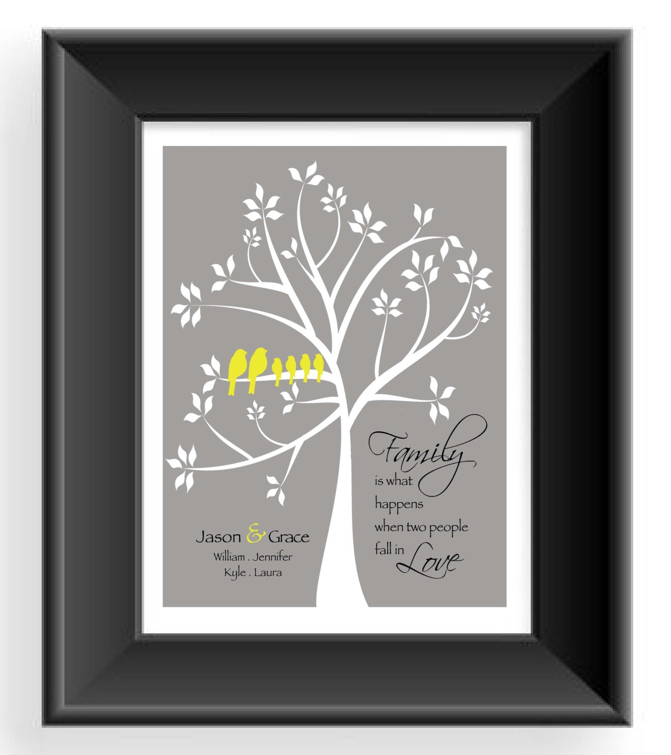 family tree wall art personalized gift for by. Black Bedroom Furniture Sets. Home Design Ideas