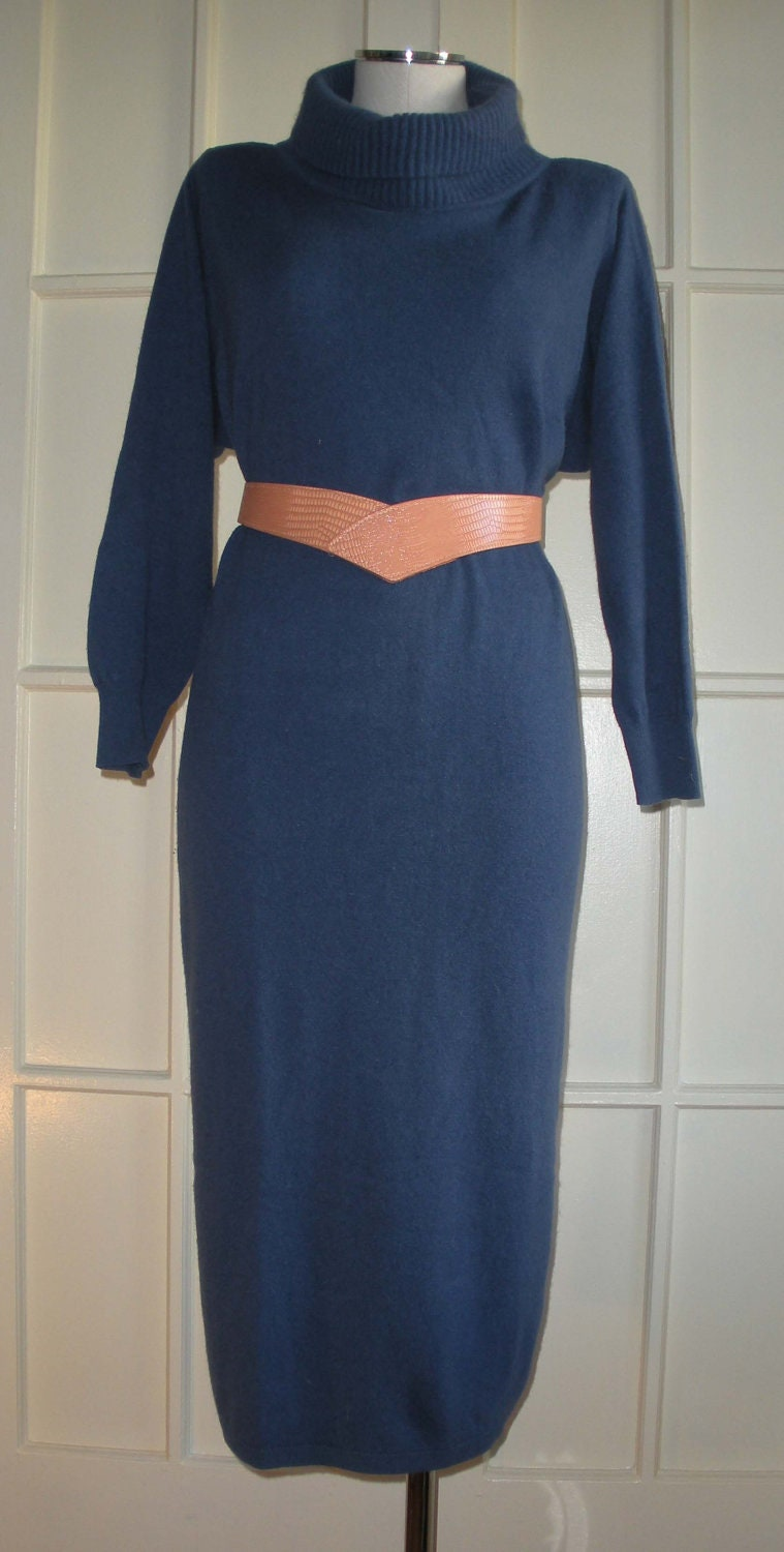 SALE Benetton Blue Vintage Cashmere/Wool Sweater Turtleneck Dress Size