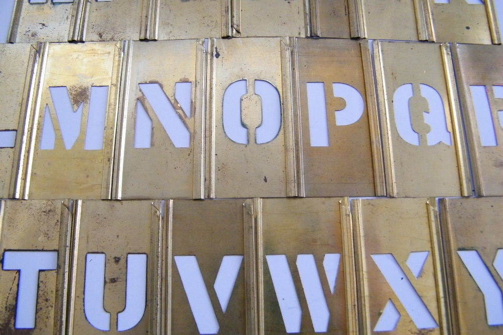 Vintage brass stencil set alphabet and numbers by for Metal stencil set letters