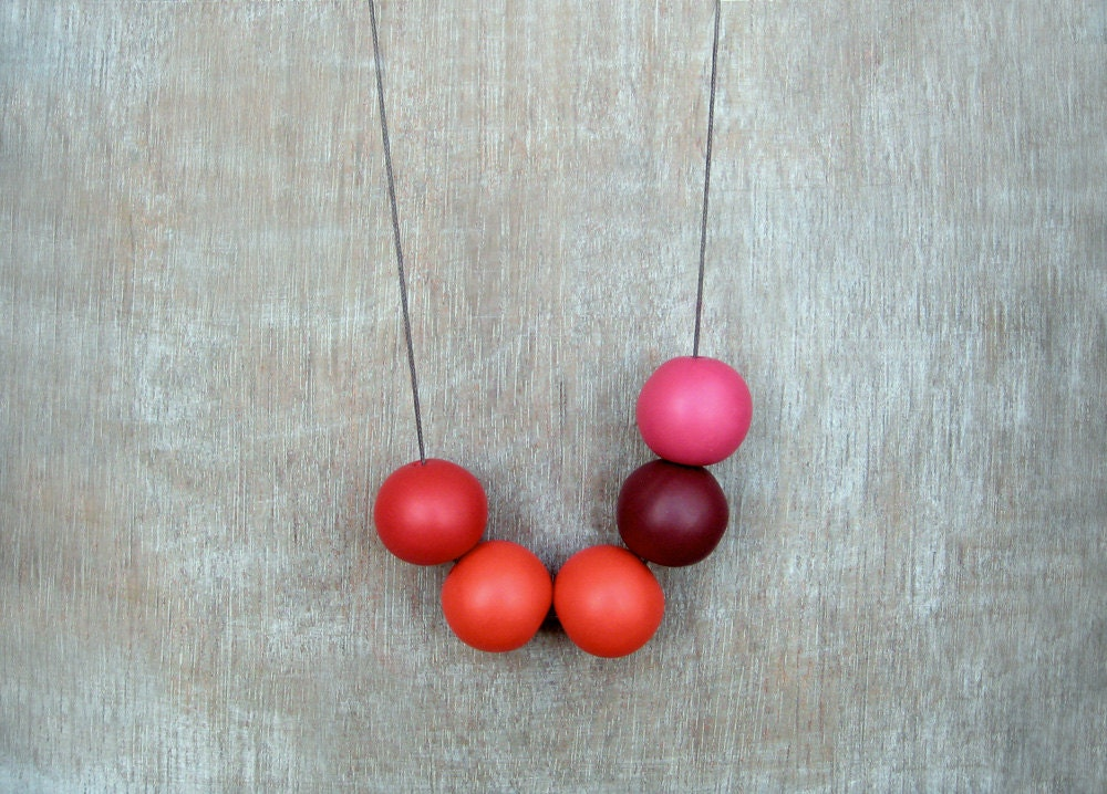 Geometric Necklace / Red Necklace/ Polymer Clay Necklace/Boho Necklace/Handmade clay beads necklace - JullMade