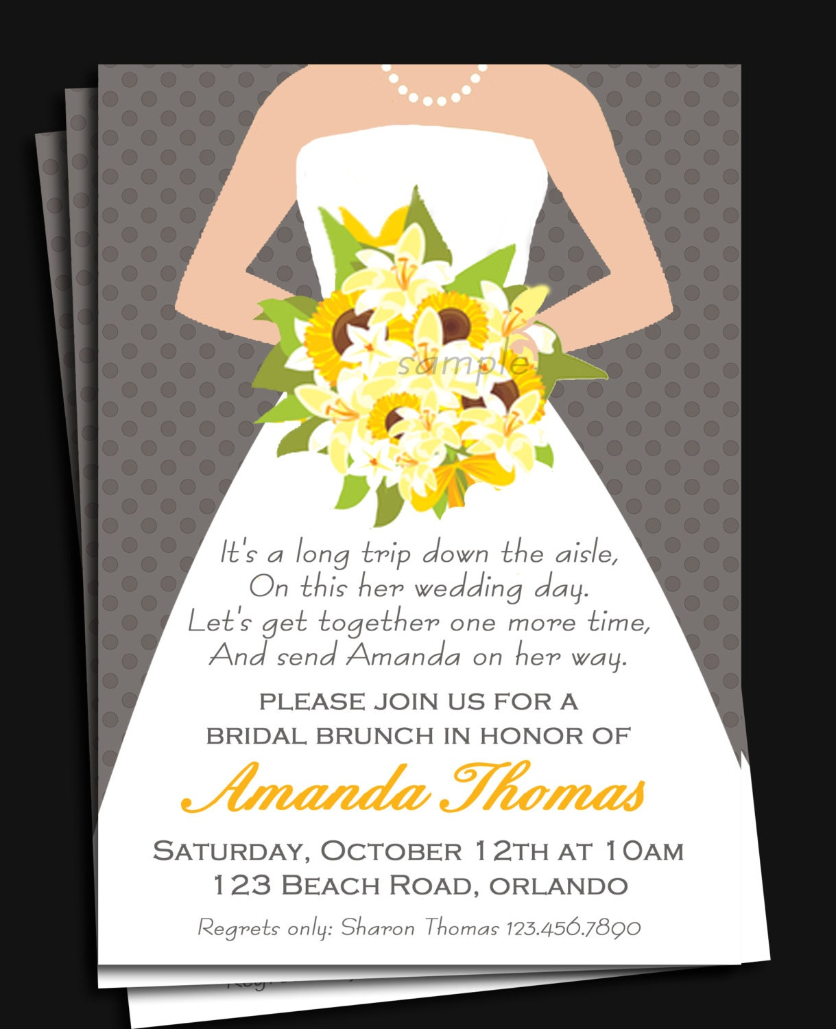 Bridal Gown Invitation Printable Or Printed With Free