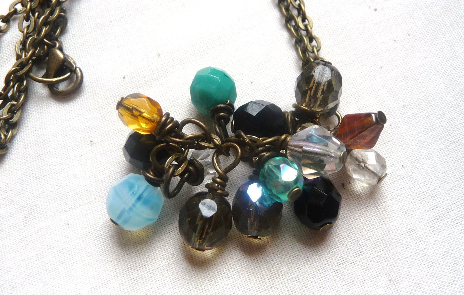 Rainbow Glass Cascade Drop Necklace on Antique Bronze Chain - Mylana