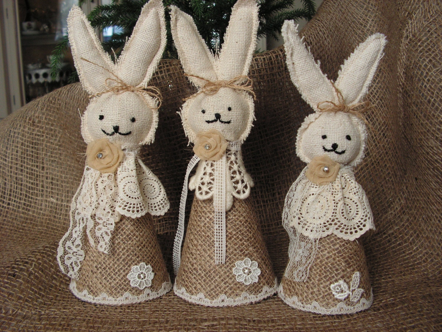 Rustic  Burlap Easter Bunny -set of 3.