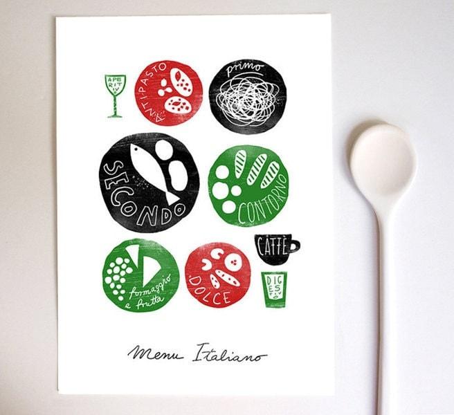 Menu italiano 11x15 italian food kitchen art print by anek for Italian kitchen prints