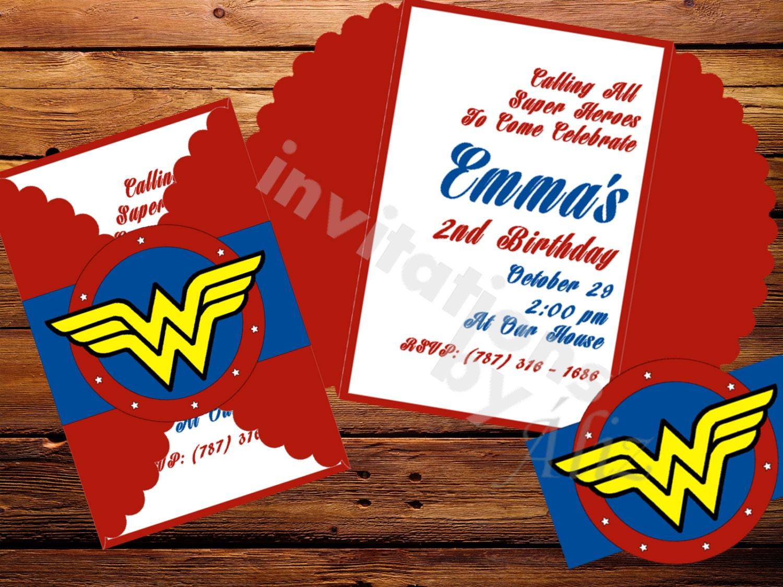 Wonder Woman invitations. - InvitationsbyAliz