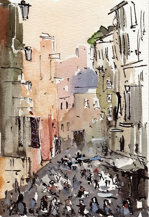 Original Painting Ink Watercolor Urban Cityscape By