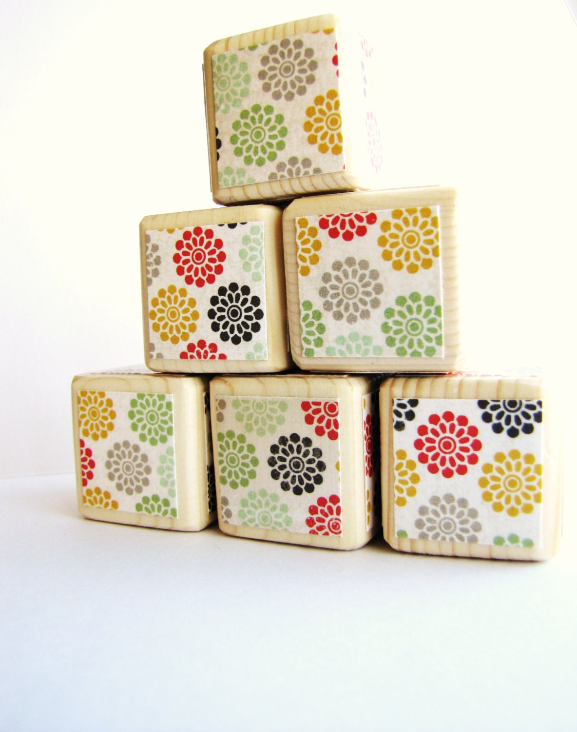 Baby Blocks. Wood Toy. Wooden blocks. Baby shower decoration.  Modern Baby toy. Autumn. Muted colors. - MiaBooo