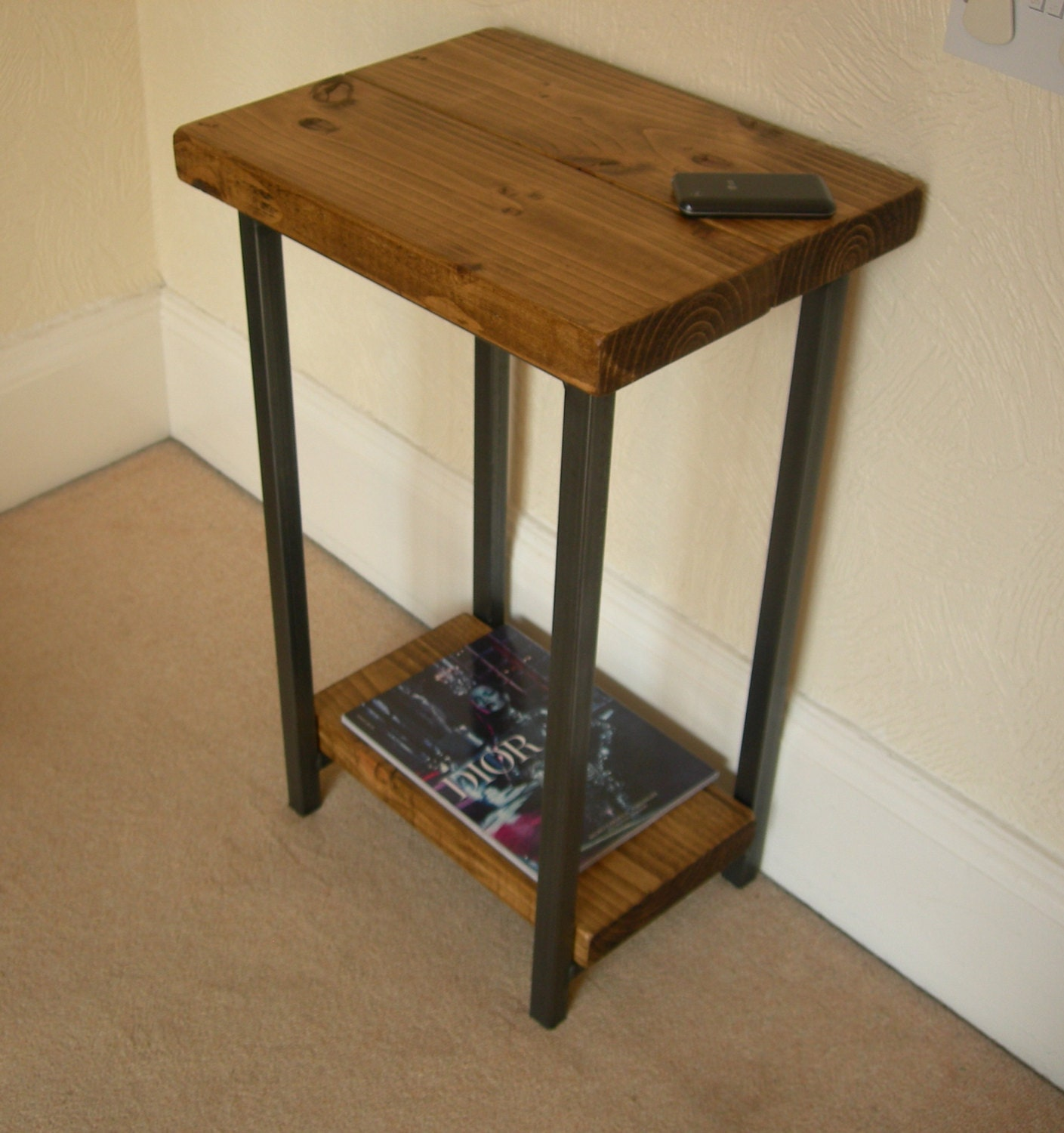 Hallway console table lamp table or telephone table rustic industrial