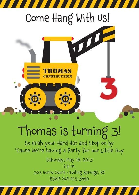 Crane Construction Truck Birthday Party Invitation by ...