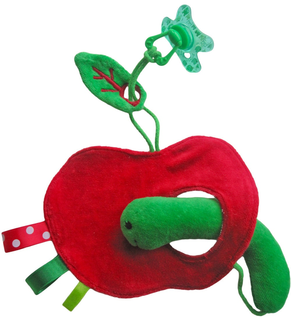 Peek-a-boo cloth: worm loves apple (with pacifier/ dummy cord) - IttyPrettyBirdy